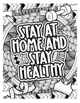 Grappige en schattige woorden blijven thuis en gezond blijven met mandala-achtergrond - kleurplaat voor volwassenen