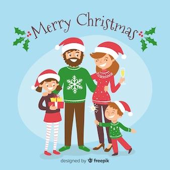 Grappige familie kerst achtergrond