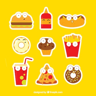 Grappige fastfood stickers