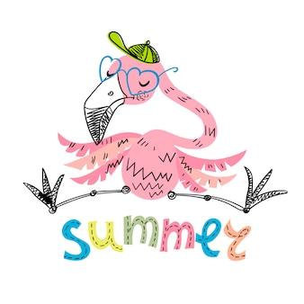 Grappige flamingo met glazen en een pet