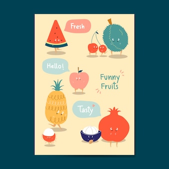 Grappige fruit cartoon stickers vector set