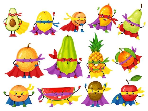 Grappige fruitheld karakters verse sinaasappel appel avocado citroen met schattige gezichten in maskers vector set
