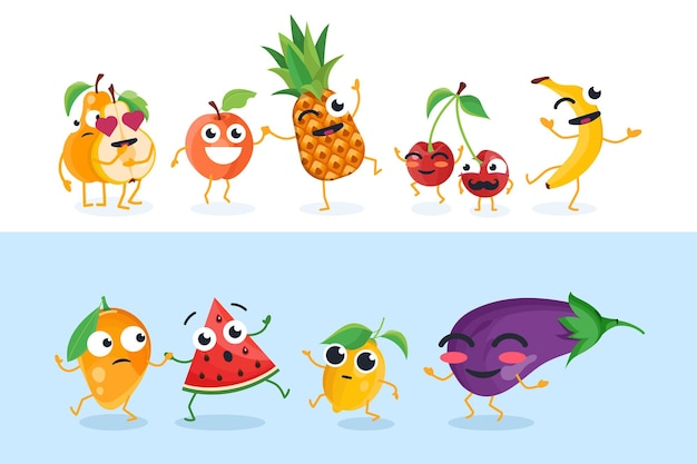 Grappige fruitkarakters - reeks geïsoleerde vectorillustraties op witte en blauwe achtergrond. leuke peer, mango, kers, banaan, ananas, citroen, aubergine. hoge kwaliteit verzameling cartoon-emoticons