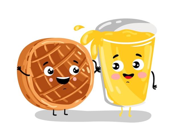 Grappige gebakken taart en limonade stripfiguren