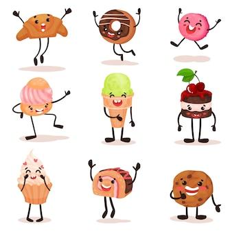 Grappige gehumaniseerde desserts stripfiguren set, croissant, donut, cake, ijs, koekje met grappige gezichten illustratie op een witte achtergrond