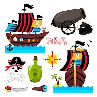 Grappige geïsoleerde piraatelementen