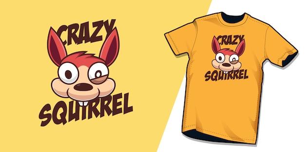 Grappige gekke eekhoorn tshirt karakter ontwerpsjabloon