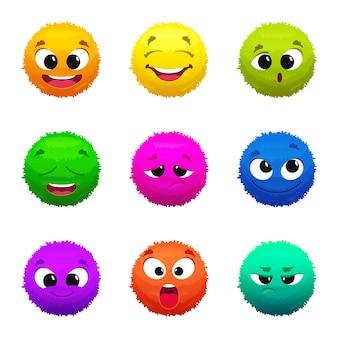Grappige gekleurde harige emoticons. stripfiguren met verschillende emoties. harige grappige glimlach mascotte collectie illustratie