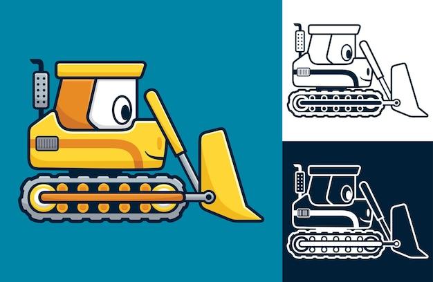 Grappige gele bulldozer. cartoon afbeelding in platte pictogramstijl