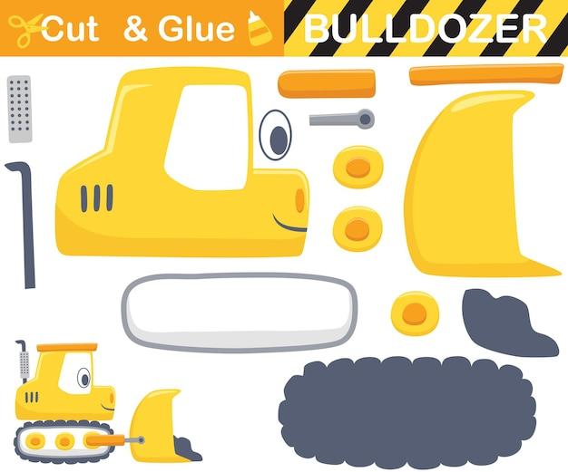 Grappige gele bulldozer. educatief papieren spel voor kinderen. uitknippen en lijmen. cartoon illustratie