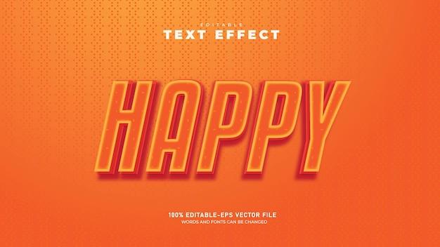 Grappige gelukkig bewerkbare 3d-teksteffect premium vector