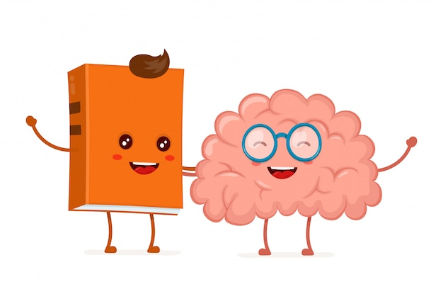 Grappige gelukkig schattige lachende hipster boek en hersenen in glazen.