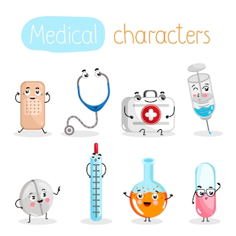 Grappige geneeskunde apparatuur stripfiguren