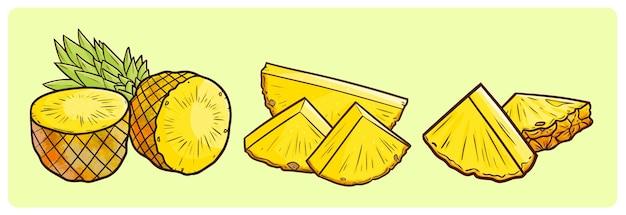 Grappige gesneden ananas in eenvoudige doodle stijl