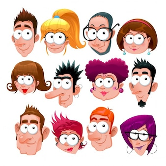 Grappige gezichten van het beeldverhaal die vector tekens