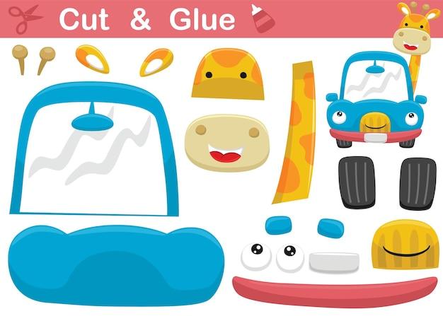 Grappige girafbeeldverhaal over het glimlachen van auto. onderwijs papier spel voor kinderen. uitknippen en lijmen