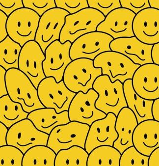 Grappige glimlach gezichten naadloos patroon