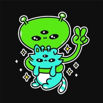 Grappige glimlach groene alien hold kittie. vector hand getrokken doodle cartoon karakter illustratie logo. cool alien, huisdier monster kat, piace gebaar symbool print voor t-shirt, kaart, sticker, patch, poster concept