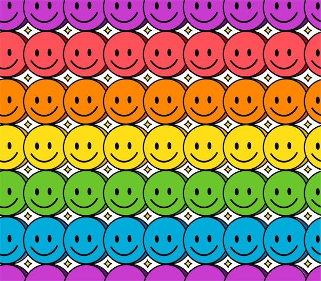 Grappige glimlach regenboog gezicht naadloos patroon