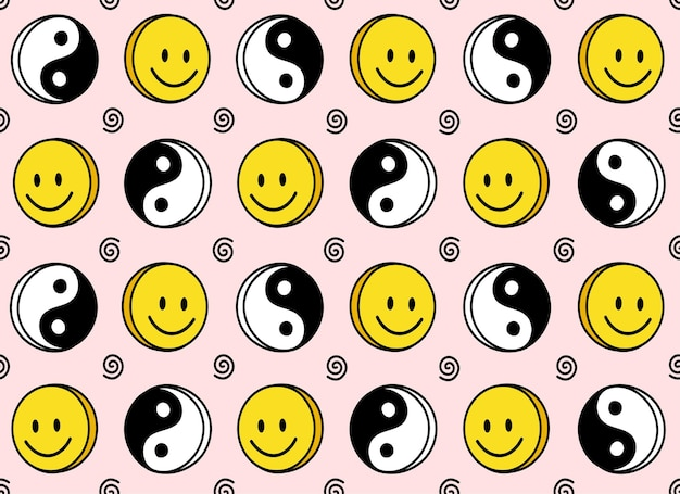 Grappige glimlach schattig gezicht en yin yang naadloos patroon