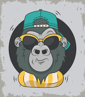 Grappige gorilla met zonnebril coole stijl