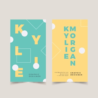 Grappige grafische ontwerper visitekaartje sjabloon set