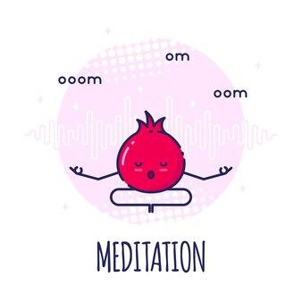 Grappige granaatappel karakter mediteren in lotos pose padmasana. yoga lessen.