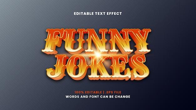 Grappige grappen bewerkbaar teksteffect in moderne 3d-stijl