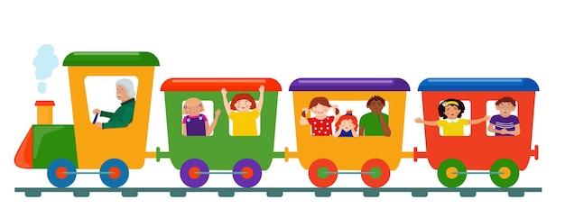 Grappige grappige kinderen rijden in een gekleurde trein. stripfiguren.