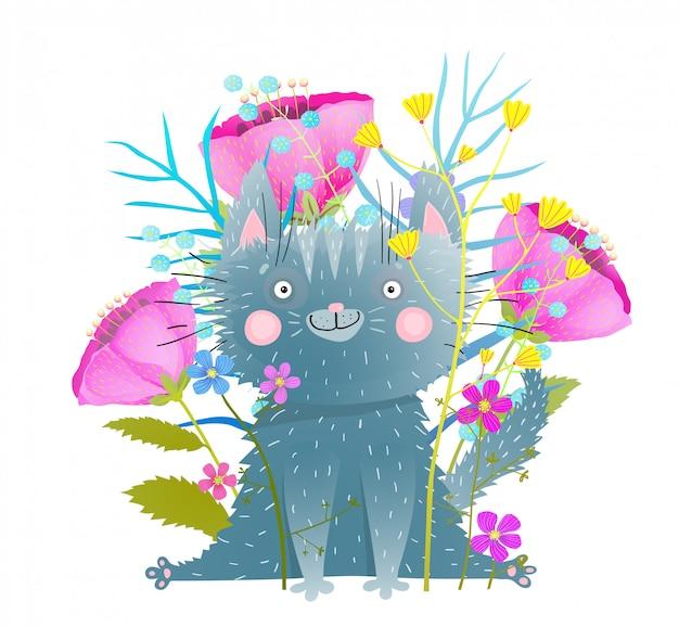Grappige grijze kitten onder bloemen vlakke afbeelding. glimlachend katachtig huisdier met abstracte papavers, vergeet-mij-nietjes. cartoon zoogdier met wilde bloemen. komische briefkaart, wenskaart geïsoleerd ontwerpelement