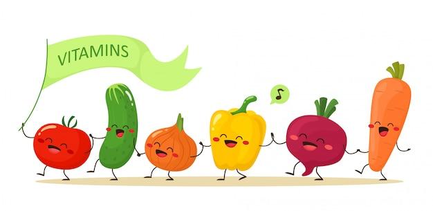 Grappige groenten die hand in hand lopen