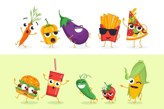 Grappige groenten en fastfood - set van vector tekens illustraties op witte en gele achtergrond. leuke emoji van gezond en ongezond voedsel. hoge kwaliteit verzameling cartoon-emoticons