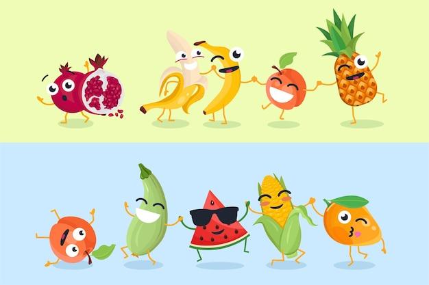 Grappige groenten en fruit - set vectorillustraties van stripfiguren op gele en blauwe achtergrond. leuke emoji van granaatappel, watermeloen, maïs, courgette. verzameling van emoticons van hoge kwaliteit