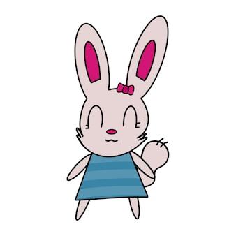Grappige haas in een groene jurk sticker. konijn met een roze strik. geschikt voor ansichtkaarten, stickers, t-shirts en kinderboeken. geïsoleerd, vector.