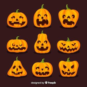 Grappige halloween-pompoenen op vlak ontwerp
