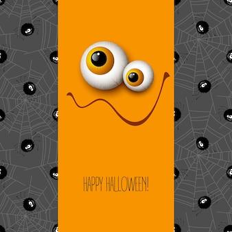 Grappige halloween wenskaart monster ogen. vectorillustratie eps 10 Gratis Vector
