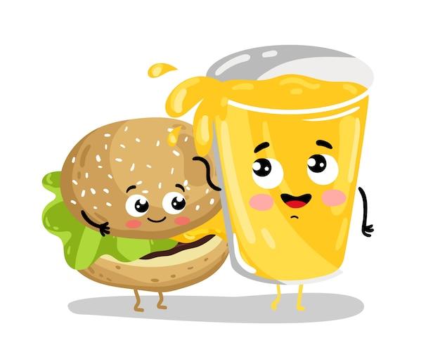 Grappige hamburger en limonade stripfiguren
