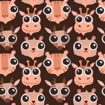 Grappige hand getrokken dieren naadloze patroon. schattige cartoon dieren gezichten - tijger, beer, hert, giraf. wildlife karakters. platte textuur voor kinderen textiel, kinderkamer ontwerp. hoort met grote ogen.