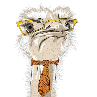 Grappige hipster van de struisvogelvogel in gele bril en stropdas
