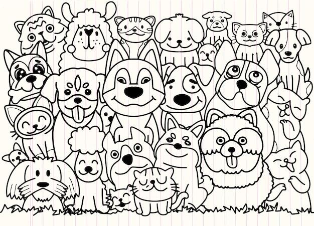 Grappige hond en schattige katten beste vrienden. gelukkige vriendschap dag. vector illustratie.