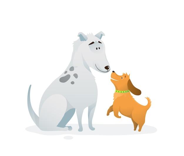 Grappige honden zitten en springen vriendschap. kleurrijk hondkarakterontwerp voor jonge geitjes geïsoleerde vector.
