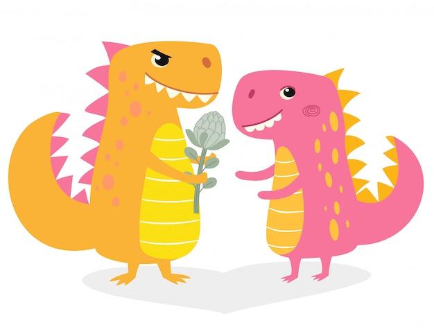 Grappige illustratie met dinosaurussen verliefd. characterdesign in cartoon-stijl