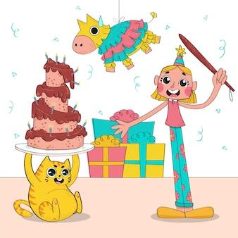 Grappige illustratie van verjaardagsfeestje