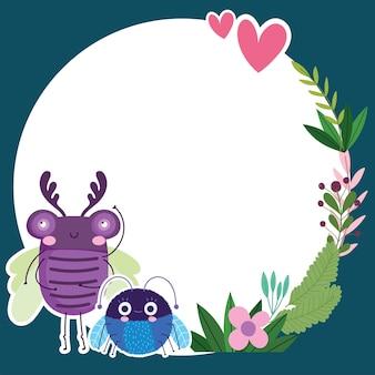 Grappige insecten dieren bloemen gebladerte natuur banner cartoon afbeelding