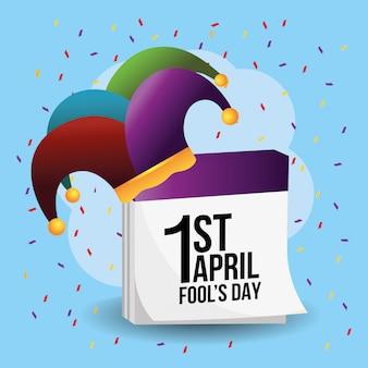 Grappige jokershoed met kalender voor dwazen dag