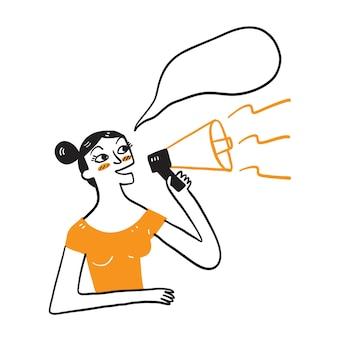 Grappige jonge vrouw die in megafoon gilt
