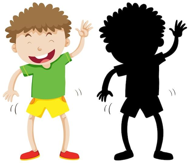 Grappige jongen in kleur en silhouet