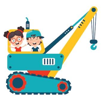 Grappige jongen met behulp van crane machine