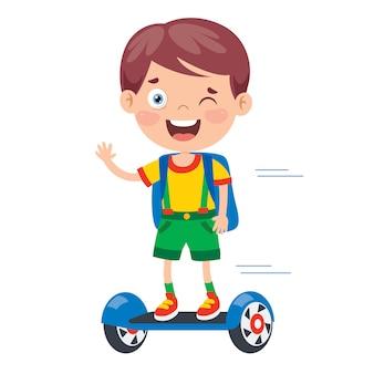 Grappige jongen rijden op een elektrische hoverboard