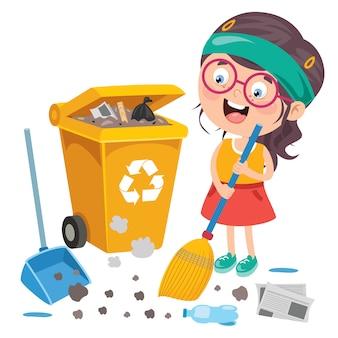Grappige jongen schoonmaken van het milieu